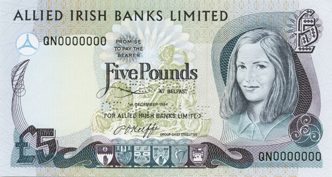 Allied Irish Banks Limited £5 Note