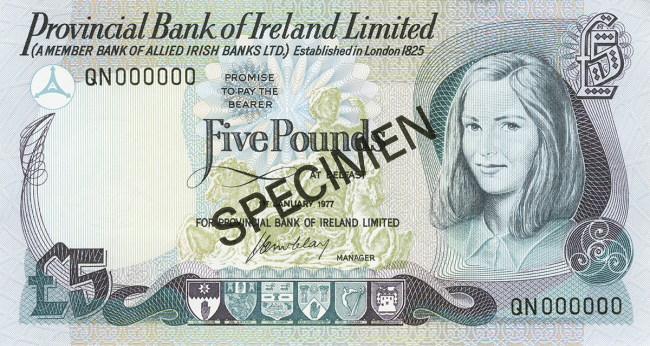 Provincial Bank of Ireland Limited £5 Note