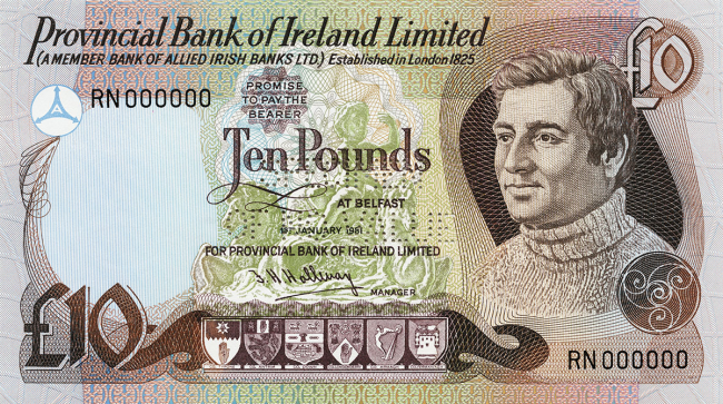 Provincial Bank of Ireland Limited £10 Note