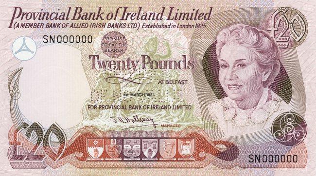 Provincial Bank of Ireland Limited £20 Note