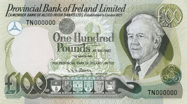 Provincial Bank of Ireland Limited £100 Note
